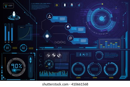 hud technology innovation screen interface template and elements design background