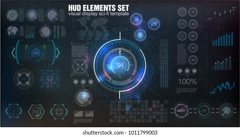HUD UI. Abstract virtual graphic touch user interface. Infographic. Vector science abstract.  Vector illustration Futuristic user interface.Graphic display control the pallet rocket. Sky-fi HUD.