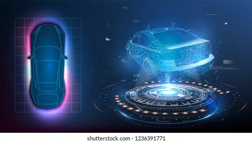 HUD UI. Abstract virtual graphic touch user interface. Car service in the style of HUD .hologram of the car. Car projection.