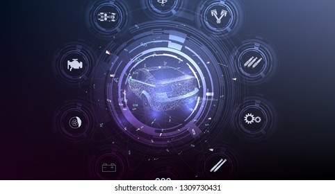 HUD UI. Abstract virtual graphic touch user interface. Car service in the style of HUD .hologram of the car. Car projection. Hardware Diagnostics Condition of Car. Vector