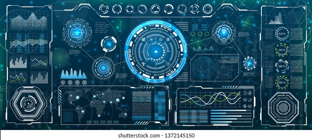 HUD UI for Business App. Futuristic User Interface Head-up Display and Infographic Elements - Illustration Vector