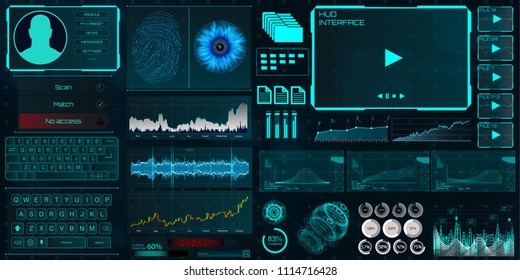 HUD UI for business app. Interface elements (Identity, fingerprint and retina check, statistics and charts and elements interface in HUD style) technology elements vector  collection