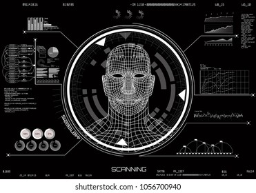 HUD UI. Concept of face scanning. Machine learning systems technology, accurate facial recognition biometric technology and artificial intelligence concept. Technology elements modern interface hud ui