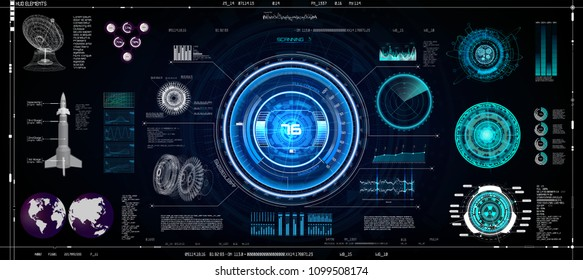 Hud Ui Elements Set. Colorful Technology Elements Sci-Fi for App ( Cockpit, Interface, Dashboard, Infographics, Radar, Spaceship, Futuristic Circle, Statistic and Data ) Vector in Hud Ui Style