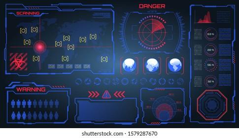 HUD, UI, GUI Futuristic Frames User Interface. Warning, Danger Elements. Dashboard, Scanning System - Illustration Vector