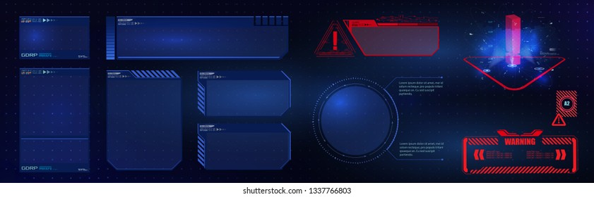 HUD UI GUI  futuristic user interface screen elements set. High tech screen for video game. Sci-fi concept design. Vector illustration