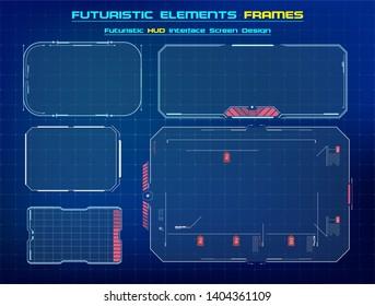 HUD UI GUI futuristic user interface screen elements set .  Abstract control panel layout design. Sci fi virtual tech display. Vector illustration