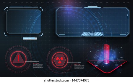 HUD, UI, GUI futuristic user interface screen elements set. High tech screen for video game. Sci-fi concept design. Callouts titles. Modern banners, frames  of lower third. Red. Vector illustration