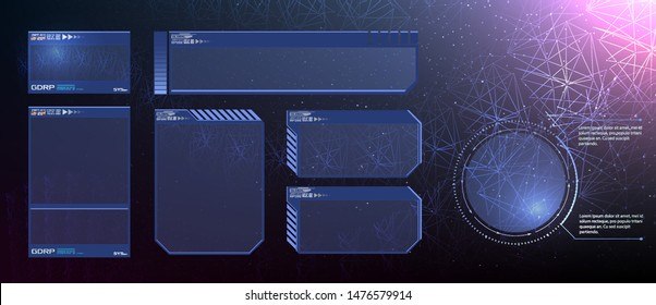 HUD UI GUI futuristic user interface screen elements set. High tech screen for video game. Sci-fi concept design. Square Frames Blocks Set HUD Interface Elements. Futuristic warning frame