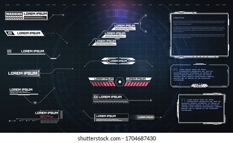 HUD, UI, GUI futuristic user interface screen elements set. High tech screen for video game. Sci-fi concept design. Callouts titles. Modern banners, frames of lower third.Sci-fi empty banners for text