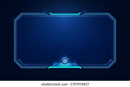 HUD, UI, GUI futuristic user interface screen elements. High tech screen for video game. Sci-fi concept design.