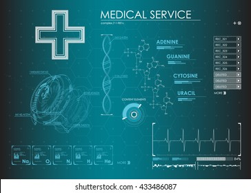 HUD UI for medical app. Futuristic user interface HUD and Infographic elements. Abstract virtual graphic touch user interface. UI hud infographic interface screen monitor radar set web elements