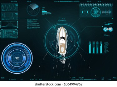 HUD UI. Spyware app for tracking. CIA surveillance. Search by satellite. Application by surveillance on the map in HUD style design. App navigation in the HUD UI style. Technology Elements. yacht