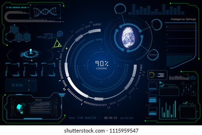 HUD UI virtual system cybersecurity digital tech innovative concept template eps 10 vector