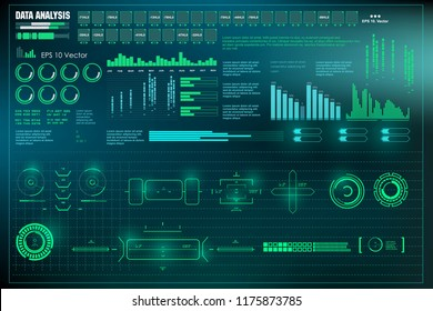 HUD user interface. Data analysis, visualization futuristic infographic information, visual datatrade map, diagrams virtual interface