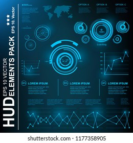 HUD user interface. Graphic construction. Futuristic blue virtual graphic touch  user interface