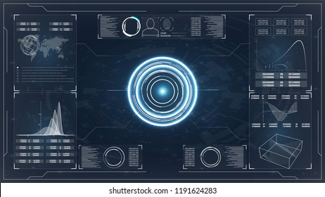 Hud. Hud. Web design concept. Blue radar screen. Futuristic abstract technology background innovation concept vector illustration. Web design, development. Hud ui.