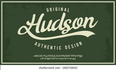 Hudsone. Hand made script typeface. Vintage brush script. Retro vector illustration. Print for clothes.