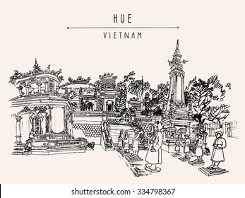 Hue, Vietnam, Indochina. Tomb of Khai Dinh emperor. Sculptures of warriors, trees, traditional architecture. Vintage postcard poster banner template. Calendar page idea.. Vector illustration