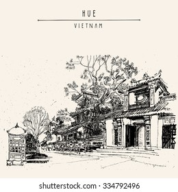 Hue, Vietnam, Southeast Asia. Temples and trees in Forbidden City. Traditional Vietnamese culture. Artistic postcard. Vector illustration