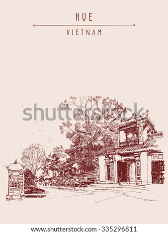 Hue Vietnam Southeast Asia Temples Trees Stock Vector