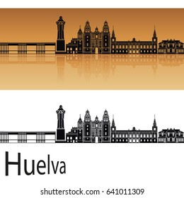 Huelva skyline in orange background in editable vector file