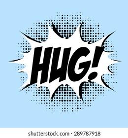 Hug, comic book style, dots