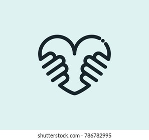 Hug love icon line isolated on clean background. Heart concept drawing icon line in modern style. Vector illustration for your web site mobile logo app UI design.