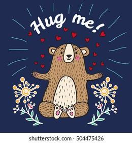 Hug me card with teddy bear. Vector illustrated card.
