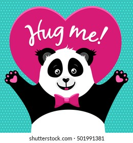 Hug me! Cartoon funny cute little panda rising paws ready to hud. Vector colorful flat background.