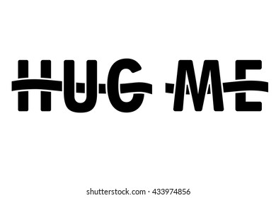 Hug me letters interwoven with ribbon, vector