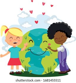 Сhildren hug  our planet. We must protect and love the planet.  Earth Day