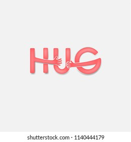 """""""HUG"""" typographical and Hand icon.Embrace or hug icons vector logo design.Hugs and Love yourself symbol.Love concept.Valentine's Day Vector Card.Love & Happy valentines day concept.Vector illustration"""