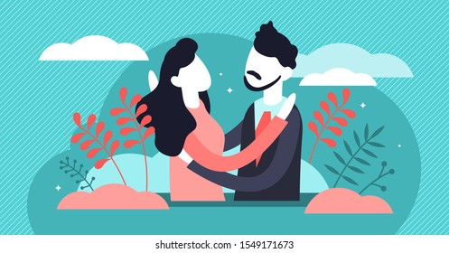 Hug vector illustration. Flat tiny warm greeting process persons concept. Couple relationship, trust and friendship acknowledgment symbol. Romantic partners hugging each other. Moment before kissing.