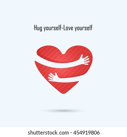 Hug yourself logo.Love yourself logo.Love and Heart Care logo.Heart shape and healthcare & medical concept.Vector illustration