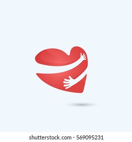 Hug yourself logo.Love yourself logo.Love and Heart Care icon.Heart shape and healthcare & medical concept.Vector illustration
