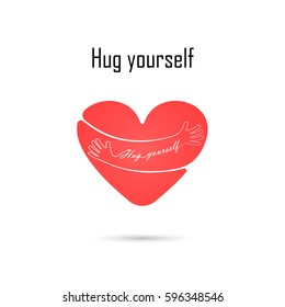 Hug yourself logo.Love yourself logo.Love and Heart Care icon.Embrace heart logo design vector template.Embracing logotype .Heart shape and healthcare & medical concept.Vector illustration