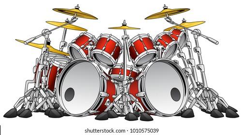 Huge 10 Piece Rock Drum Set Musical Instrument Vector Illustration