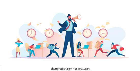 Huge angry boss yells into loudspeaker. Clutter in office, papers fly. Deadline Disruption Metaphor. Concept struggling with project deadline, working time management. Vector flat illustration