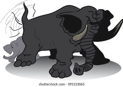 huge angry elephant wags its tail in fury, it was hiding behind small elephant