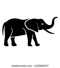 Huge animal, an elephant with trunk icon