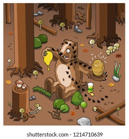 Huge bear attacked by picnic ants while eating a honeycomb in a dark forest (isometric cartoon)