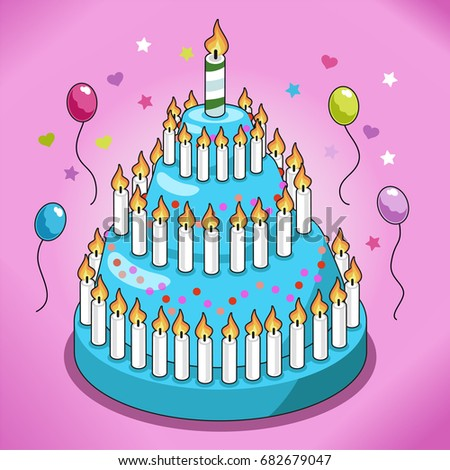 Huge Birthday Cake With Turquoise Icing Candy Sprinkles And Many Candles Surrounded By Confetti