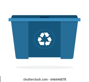 Huge blue waste trash can vector flat material design isolated on white