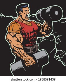 Huge bodybuilder doing bicep curls with big dumbbells, vector illustration