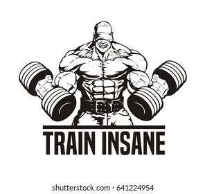 huge bodybuilder training biceps, vector illustration