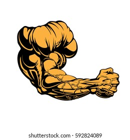 Huge Bodybuilders Arm Design Made In Graphic Style. Fist, Veins, Shoulder, Biceps, Triceps, Power...Vector