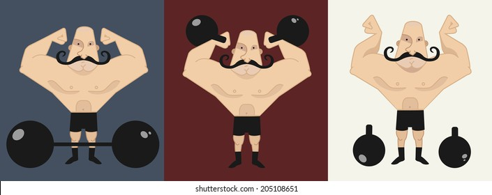 Huge bold, mustached strongman in different poses, with barbell and kettlebell