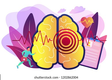 Huge brain with red circles pain epicenter and doctor running. Stroke and headache, oxygen-deprived brain and first aid concept on white background. Bright vibrant violet vector isolated illustration