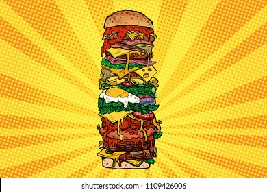 Huge Burger tower. Street fast food. Pop art retro vector illustration kitsch vintage drawing